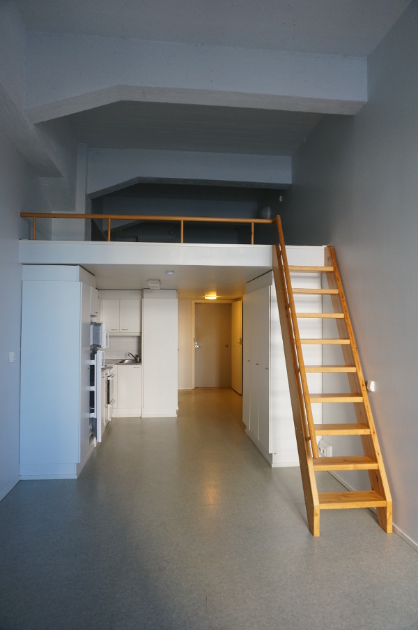 A-house studio partment with sleeping area upstairs